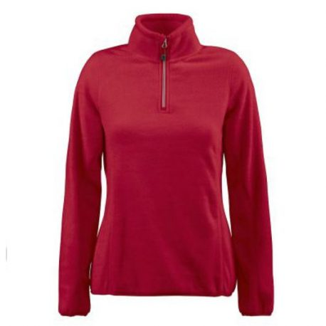 Printer Frontflip Lady Fleece Halfzip rood