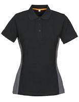 MacOne Selma Lady polo shirt zwart mêlée/grijs mêlée