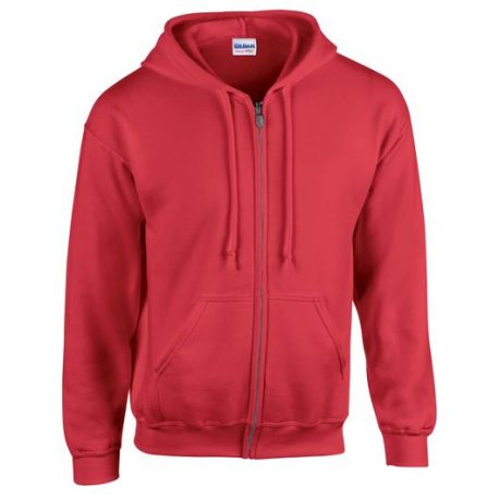 Heavy Blend Adult Full Zip Hooded Sweatshirt red