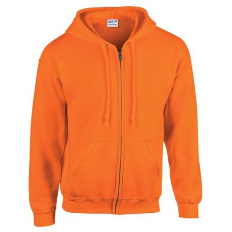 Heavy Blend Adult Full Zip Hooded Sweatshirt safety orange