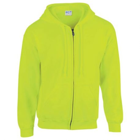 Heavy Blend Adult Full Zip Hooded Sweatshirt safety yellow