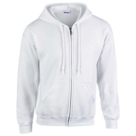 Heavy Blend Adult Full Zip Hooded Sweatshirt white
