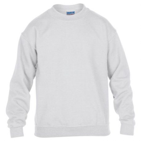 Heavy Blend Classic Fit Youth Crewneck Sweatshirt WHITE