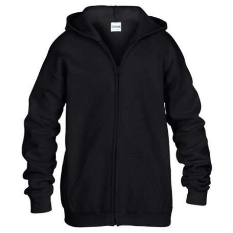 Heavy Blend classic Fit Youth Full Zip Hooded Sweatshirt BLACK
