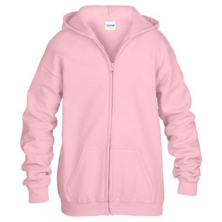Heavy Blend classic Fit Youth Full Zip Hooded Sweatshirt LIGHTPINK