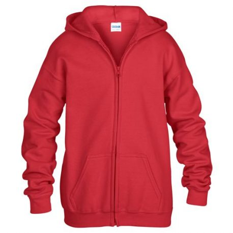 Heavy Blend classic Fit Youth Full Zip Hooded Sweatshirt RED