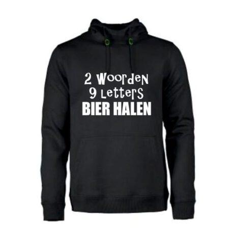 heren hoodie 2 woord 9 lett zwart