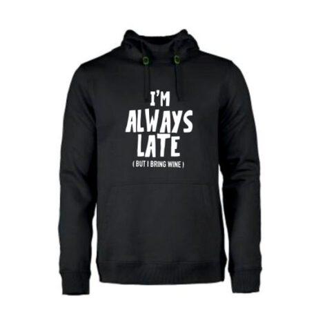 heren hoodie always late zart