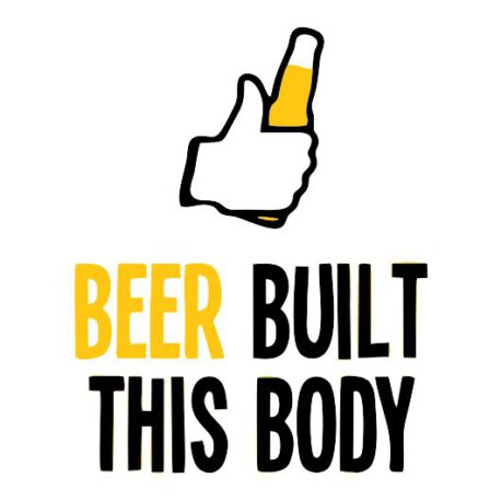 heren hoodie beer built body tekst