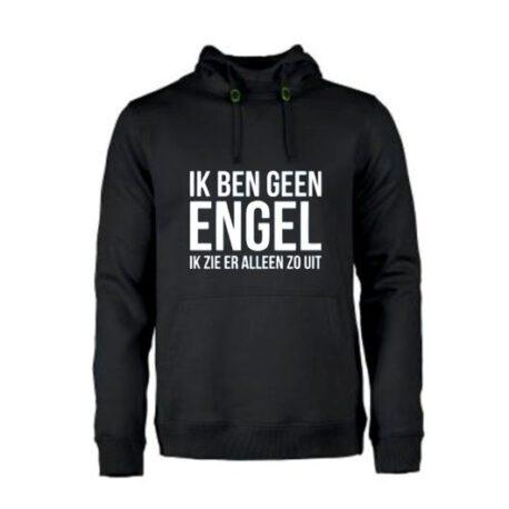 heren hoodie geen engel zwart