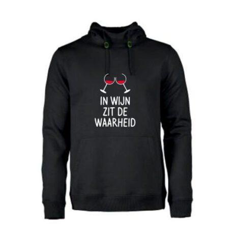 heren hoodie in wijn zit de waarheid zwart
