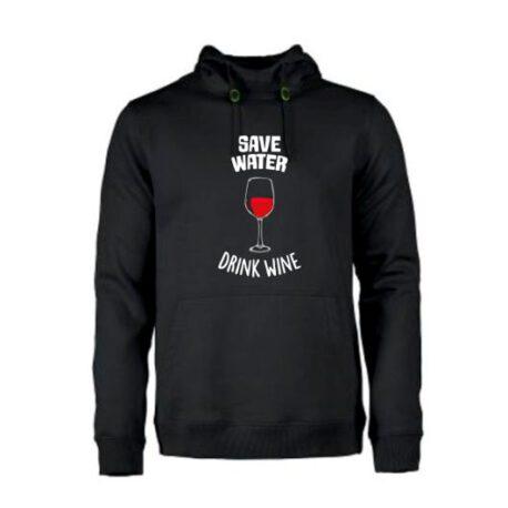 heren hoodie save water zwart