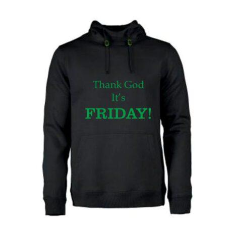 heren hoodie thankgod friday zwart