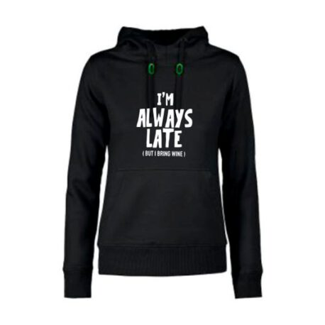 hoodie dames always late zwart
