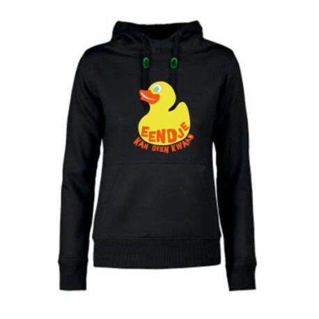 hoodie dames eendje kan geen kwaad zwart