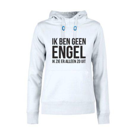 hoodie dames geen engel wit