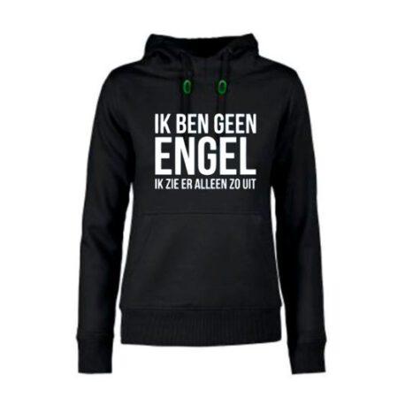 hoodie dames geen engel zwart