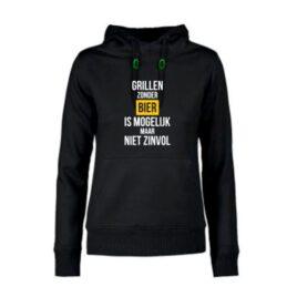 dames hoodie Grillen zonder bier