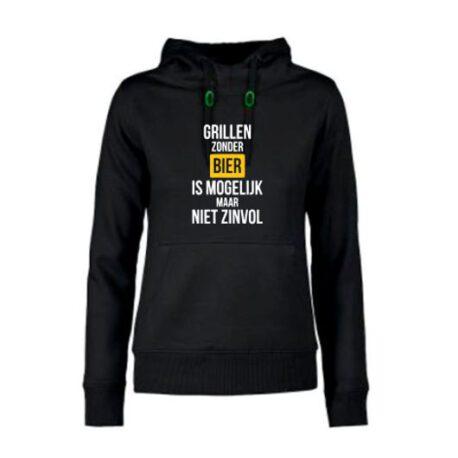 hoodie dames grillen zonder bier zwart
