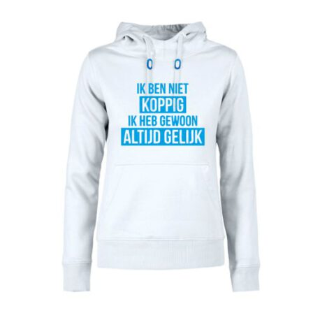 hoodie dames niet koppig wit