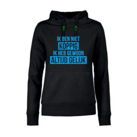 hoodie dames niet koppig zwart