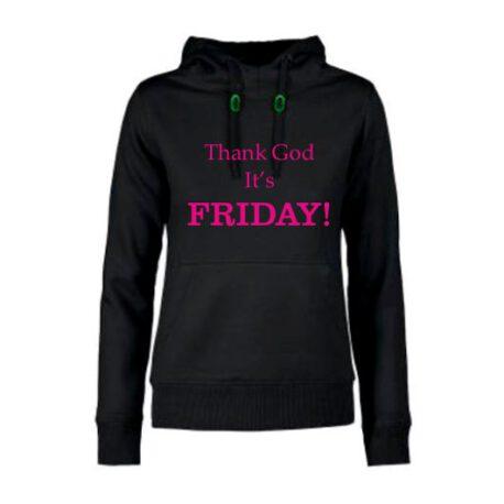 hoodie dames thank god friday zwart