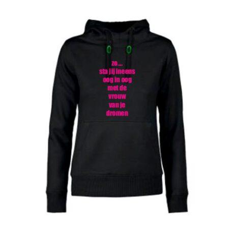 hoodie dames vrouw van dromen zwart