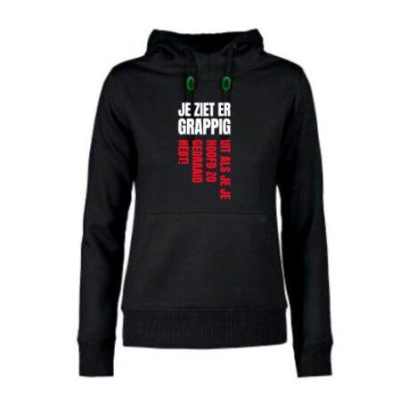 hoodie dames ziet grappig uit zwart