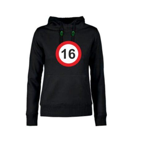 dames hoodie 16 zwart
