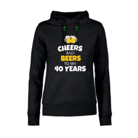 dames hoodie 40 bier zwart