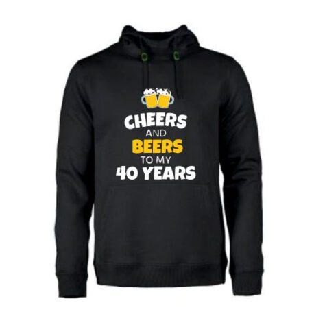 heren hoodie 40 bier zwart