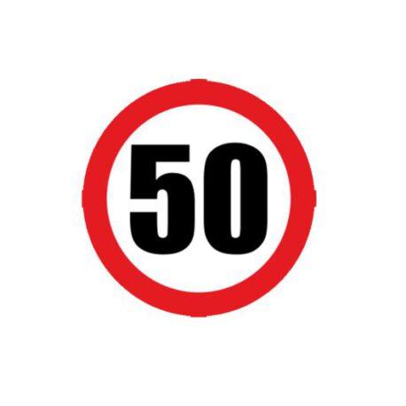 heren hoodie 50 verkeersbord logo