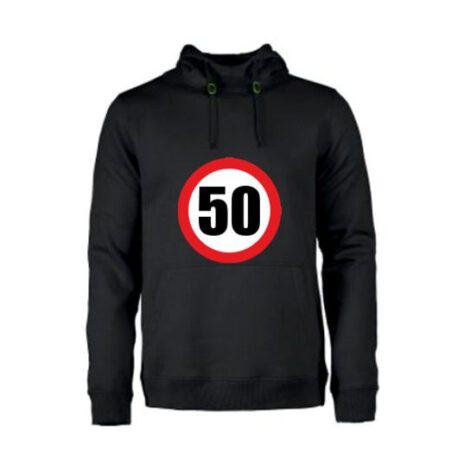 heren hoodie 50 verkeersbord zwart