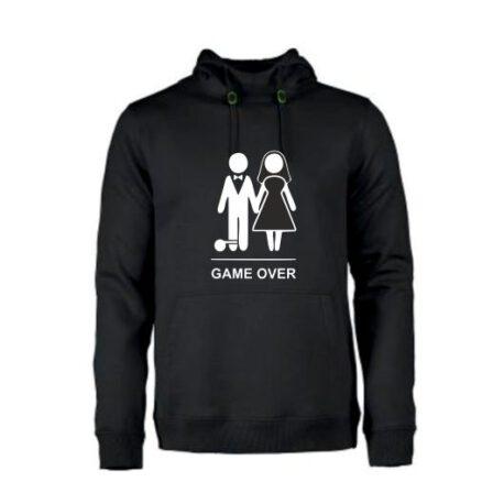 heren hoodie game over zwart