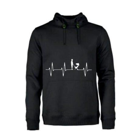 heren hoodie heart bbq zwart