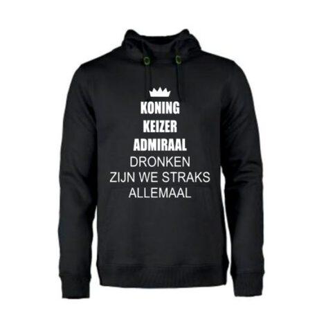 heren hoodie koning keizer zwart