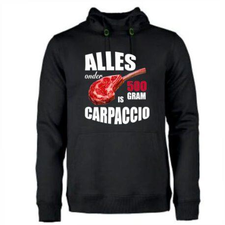 hoodie.alles onder 500 gram is carpaccio.zwart