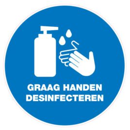 Vinyl stickers rond graag handen desinfecteren