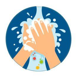 Vinyl stickers rond handen wassen