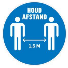 Vinyl stickers rond houd afstand 1,5 meter blauw