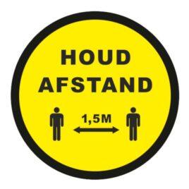 Vinyl stickers rond houd afstand 1,5 meter geel