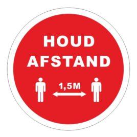 Vinyl stickers rond houd afstand 1,5 meter rood