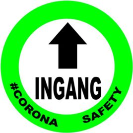 Vinyl stickers rond ingang corona safety