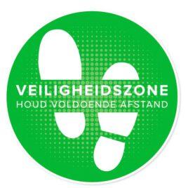 Vinyl stickers rond veiligheidszone houd afstand