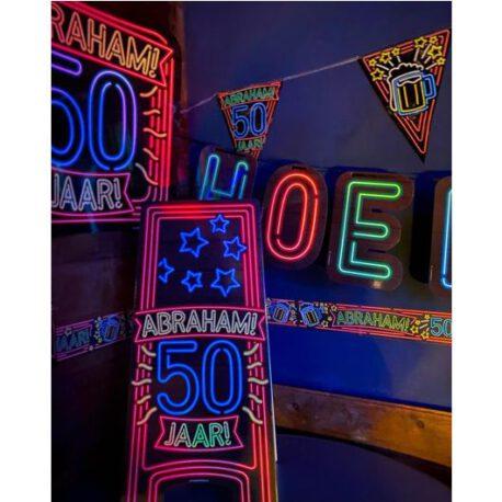50 abraham neon bord