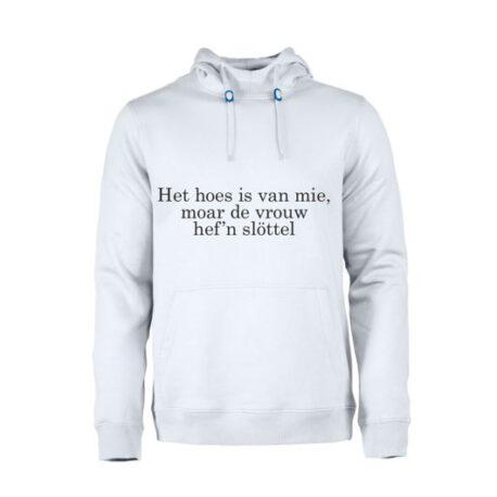 het huis is van mij maar de vrouw heeft de sleutel wit heren hoodie