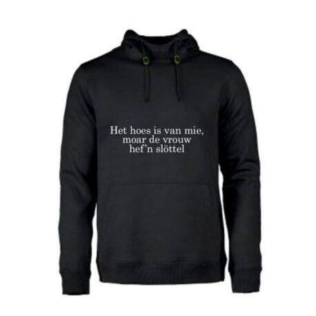 het huis is van mij maar de vrouw heeft de sleutel wit zwart hoodie